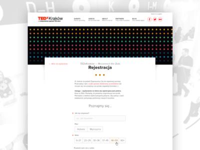 TEDxKrakow Registration minimalist ux event registration accessibility tedxkrakow tedx ted registration event a11y form website