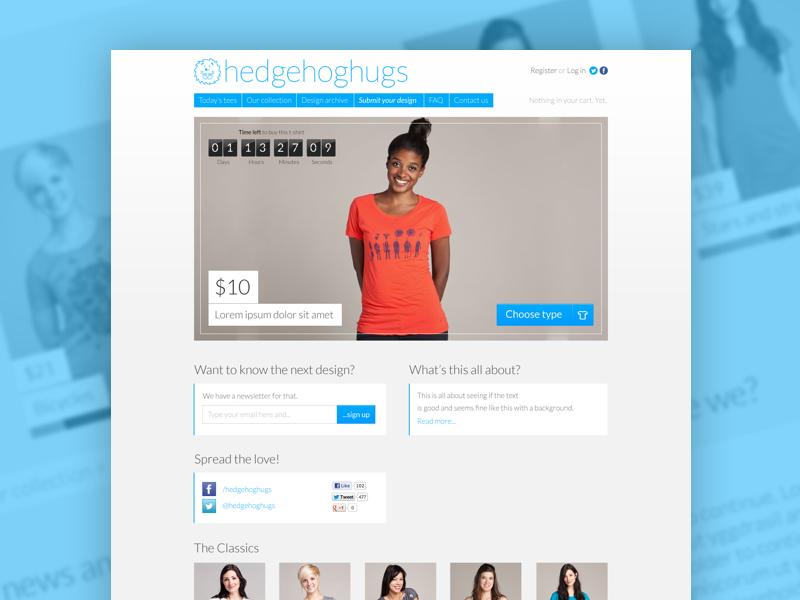 HedgehogHugs shopping tshirts website e-commerce ecommerce web