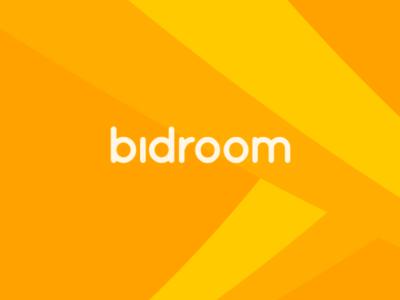 Bidroom Logo typography orange logotype identity minimal logo branding