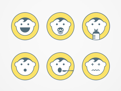 Happy Kid Logo illustration hustle coffee minimal mark face flat icon baby branding variations logo