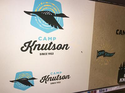 Logo-ing, WIP sun ripple water minnesota camp loon