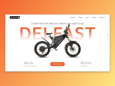 E-bike landing page product header hero web ui landing moto bike