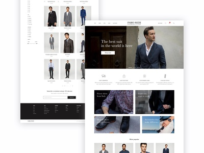 Men's wear e-commerce website fashion minimal suits store shop ecommerce