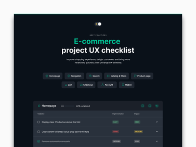E-commerce checklist checklist ux guidelines design dark web ecommerce