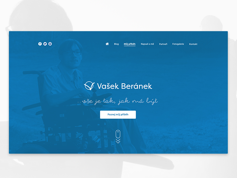 Website for handicapped man Vasek Beranek brand beranek vasek person handicapped wheelchair identity logo webdesign