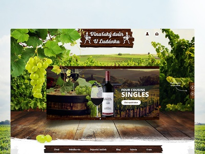 E-shop with wine wood keg wine webdesign viticulture grapes friendly e-shop eshop ecommerce atmosphere