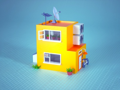 3D Lowpoly Building lowpoly 36daysoftype isometric house geometric illustration cinema 4d c4d 3d
