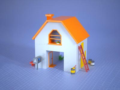 Lowpoly House isometric lowpoly house paint a letter 3d modeling 3d house 36daysoftype colours illustration cinema 4d c4d 3d design