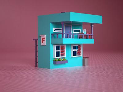 3d Lowpoly House a letter 3d modeling 3d house lowpoly isometric 36daysoftype cinema 4d c4d 3d design