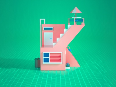 3d Lowpoly House a letter 3d modeling 3d house lowpoly 36daysoftype illustration cinema 4d c4d 3d