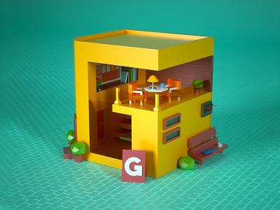 Café 3D Illustration coffee shop coffeeshop café isometric 3d modeling 3d house lowpoly illustration 36daysoftype cinema 4d c4d 3d