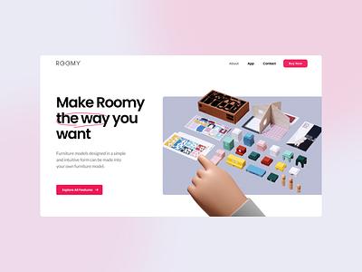 Roomy — Header Website Design website design toys homepage ui header web design
