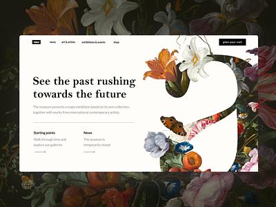 Art Museum Design Website header design web design design ui web layout museum of art museum flower blossom orchids