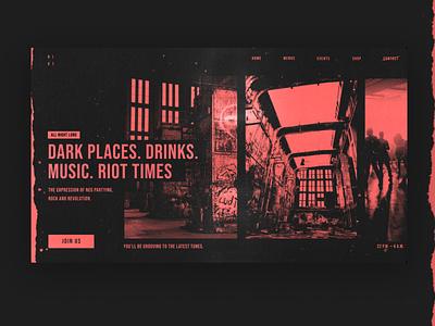 Music Grunge Website Header header red textures grunge club music web design website design ui