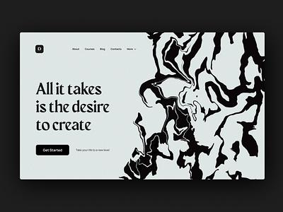 Courses Website Header limited colours minimal header marble ink webdesign website ui