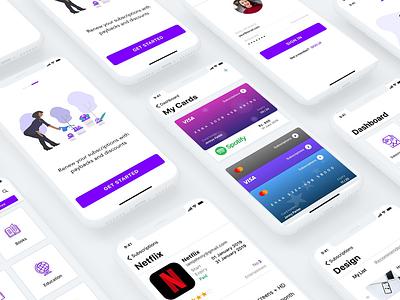 Subscription App + Freebie UI Kit cards signup onboarding mobile login kit xd freebie subscription minimal app ios