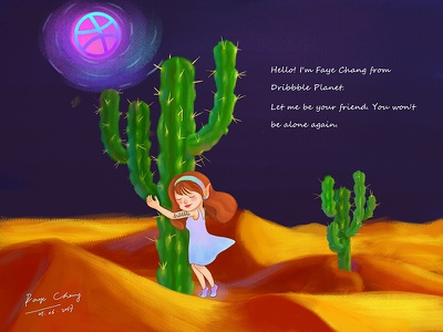 Hello Dribbble! hand drawing love lonely planet cactus girl illustration