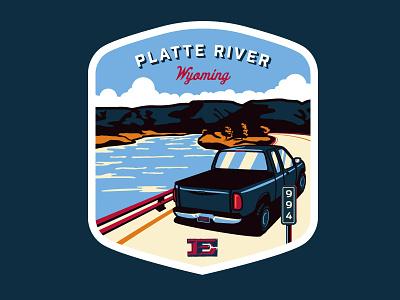 Road Trip Badges - Platte River river wyoming casper mile marker f-150 ford trees road trip travel team erickson truck badge
