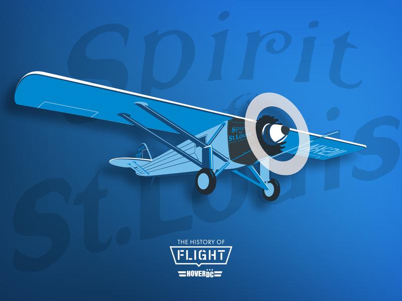 The History of Flight - Spirit of St. Louis signage environmental hoverdc flight model propellar avgeek aviation illustration washington dc