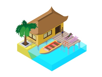 Scene of summer rest in isometric view