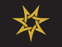 Golden seven pointed star