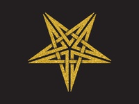 Golden magic pentagram