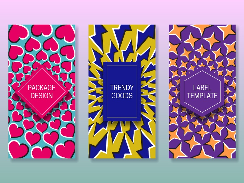 Optical illusion packaging design design cover template card banner packaging label background moving illusion optical frame