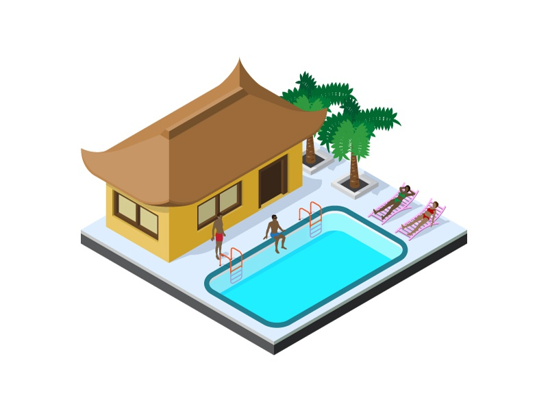 Summer is coming soon summer resort summertime vacation swimming pool landscape sunbeds design building house isometric people