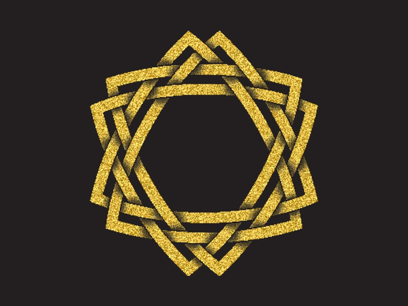 Magic hexagram plexus hexagram star golden glittering design emblem abstract symbol sign totem logo