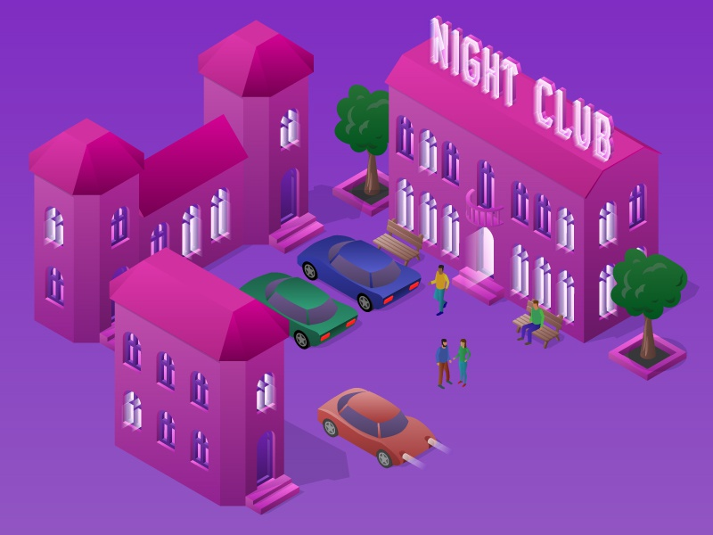Isometric night club party people feast party town club scene car design building night isometric illustration