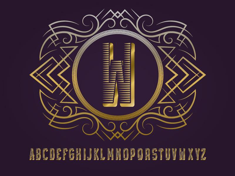 Golden monogram template label frame monogram symbol logo initial round letters template design alphabet vintage