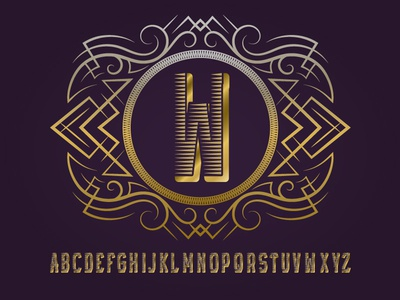 Golden monogram template