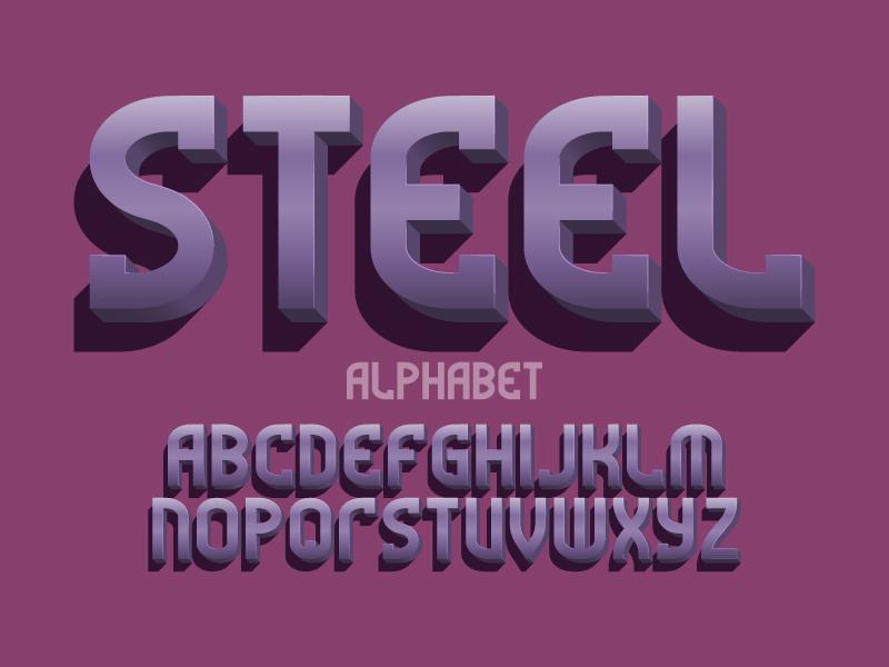 Metal 3d letters, vector typeface metallic volumetric design type vector letters font alphabet 3d metal steel