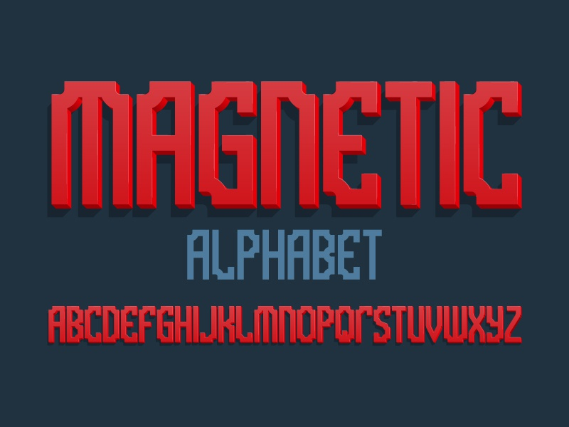 Magnetic 3d alphabet typography design type vector letters font alphabet artistic bold 3d red magnetic