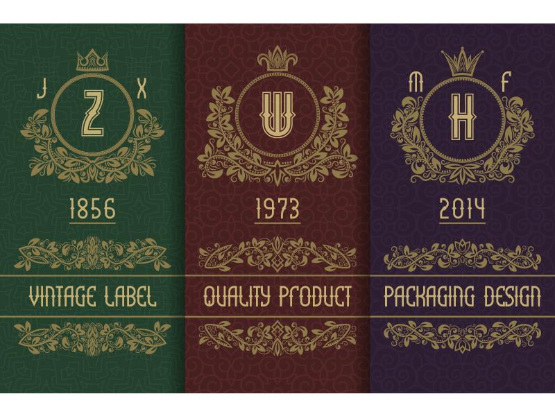 Vintage packaging branding decorative frame logo numbers letters wreath vintage monogram royal label packaging