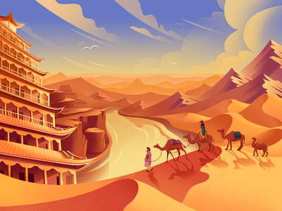 The Silk Road mountain camel people vector illustration design