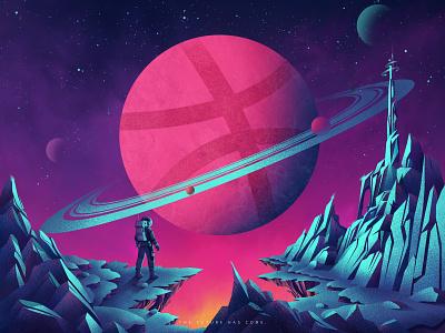 Hello Dribbble! mountain image flat planet astronaut space people vector illustration design