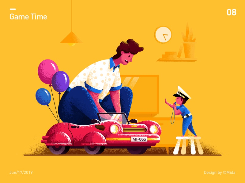 Father's day game home police sports car balloon clock child people vector illustration design fathers day car