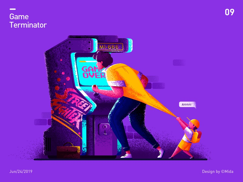 Game terminator man children child game over player father son vector illustration design arcade machine arcade game