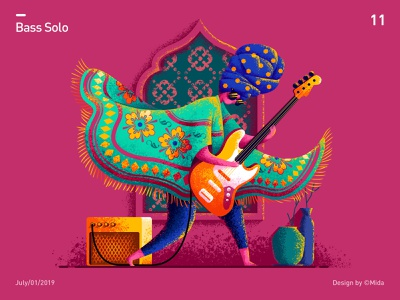 Bass solo image girl people flat vector illustration design pattern india mural wall scarf rock sound shawl electric guitar guitar player