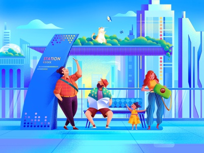 Bus station bus stop phone building man plant girl people vector illustration design cat woman