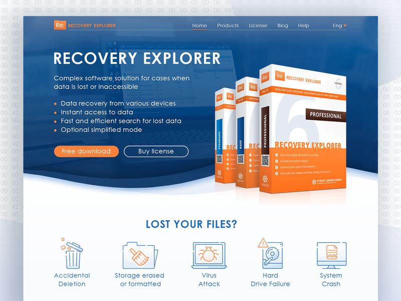 Website for software. RECOVERY EXPLORER. design web website ui