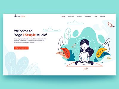 Yoga studio - web ui concept minimal illustration typography web website design ui