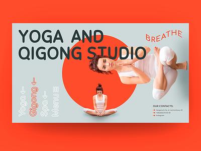 Yoga and Qigong Studio Breathe. Concept web design ux minimal typography design web website ui