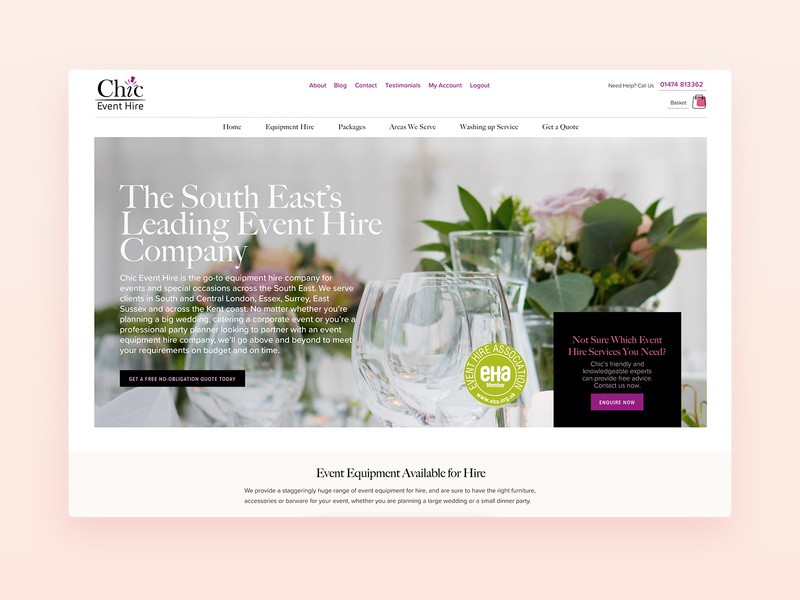 Chic Event Hire Website marketing ui design exposureninja web