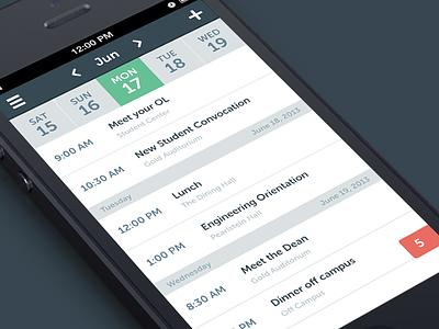 Agenda View 2x app ios nav navigation icons iphone list search agenda settings messages calendar notifications flat
