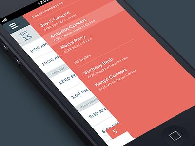 Slideout slider ios app apple agenda todo list red mobile flat invite recommendation