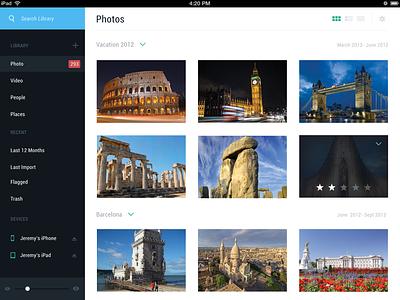Personal Photo App ios ipad app photos flat design minimal