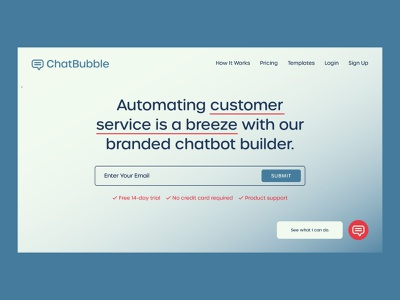 ChatBubble | Day 8 of the Website Design Challenge customer service web design website concept html css html uxui ux ui uxdesigner uxdesign branding hero banner logo concept webdesigns website designer webdesign chatbot builder brand