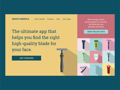 Shave America | Day 20 of the Web Design Challenge kits gifts shave shaving hero banner design website banner html ux uiux website design website concept webdesigner webdesign ui uxui concept logo website branding